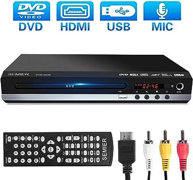SEMIER Reproductor de DVD sin región, Compacto Reproductor de CD ...