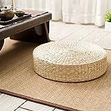 Woven Rush Weave Grass Floor Cushion, Handmade Straw Woven Yoga Mat Round Braided Pad Natural Grass Seat Cushion 406cm
