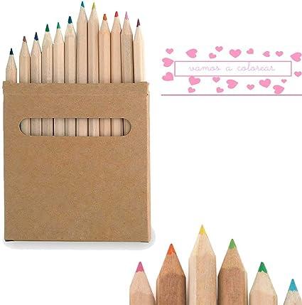 Set de 12 lápices en caja de cartón natural con ventana. Lote de ...