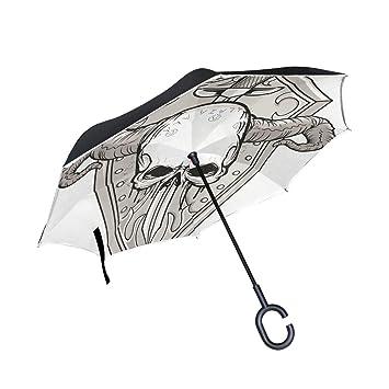 MALPLENA - Paraguas de Apertura automática de Calavera y Espada hacia Arriba hacia Abajo inverso para