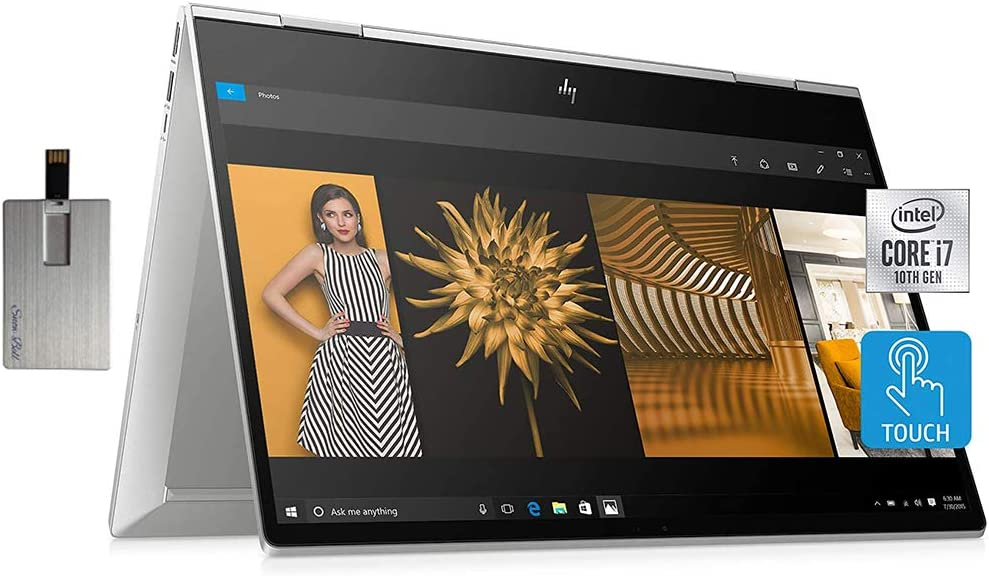 "2020 HP Envy x360 2-in-1 15.6"" FHD Touchscreen Laptop Computer, Intel Core i7-10510U, 32GB RAM, 1TB PCIe SSD, Intel UHD Graphics, B&O Audio, HD Webcam, USB-C, Win 10, Silver, 32GB Snow Bell USB Card"