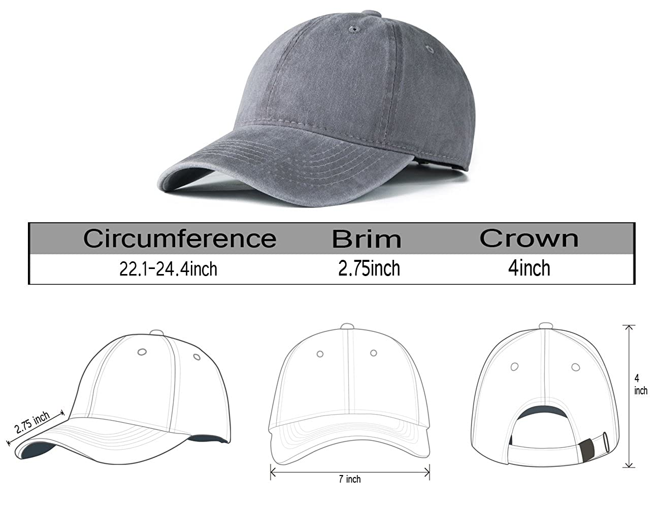88f86fa8b03 Edoneery Men Women Cotton Adjustable Washed Twill Low Profile Plain Baseball  Cap Hat (Gray) at Amazon Men s Clothing store