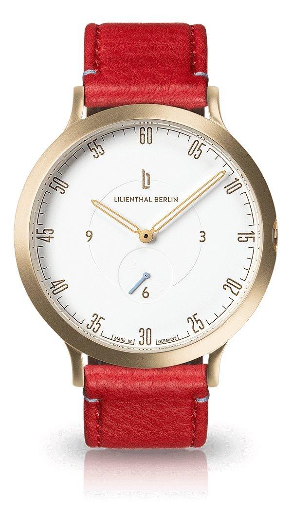 Lilienthal Berlin -Made in Germany- ベルリンの新しい時計モデル L1 ステンレススチール ケース B0769TM43B サイズ: 37.5 mm|ケース: ゴールド / ダイヤル: ホワイト/ストラップ: レッド ケース: ゴールド / ダイヤル: ホワイト/ストラップ: レッド サイズ: 37.5 mm