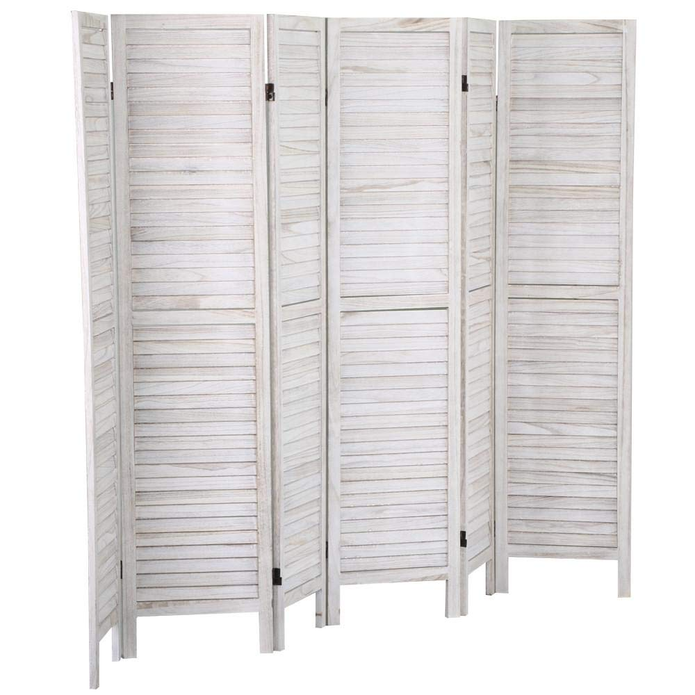 Popamazing Natural 6 Folding Panel Wooden Slat for Room Divider Privacy Screen/Partition/Blind