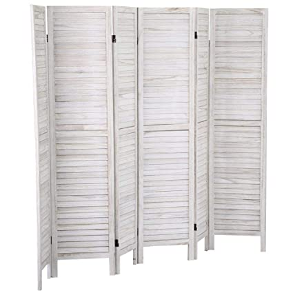 Fine Yaheetech Cream Folding 6 Panel Wooden Slat For Room Divider Privacy Screen Partition Blind Download Free Architecture Designs Embacsunscenecom