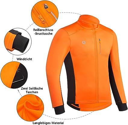 Dooy Herren Fahrradtrikot Winter Thermo Langarm Fahrradtrikot Atmungsaktiv Softshelljacke mit durchgehendem Rei/ßverschluss und Ges/ä/ßtaschen