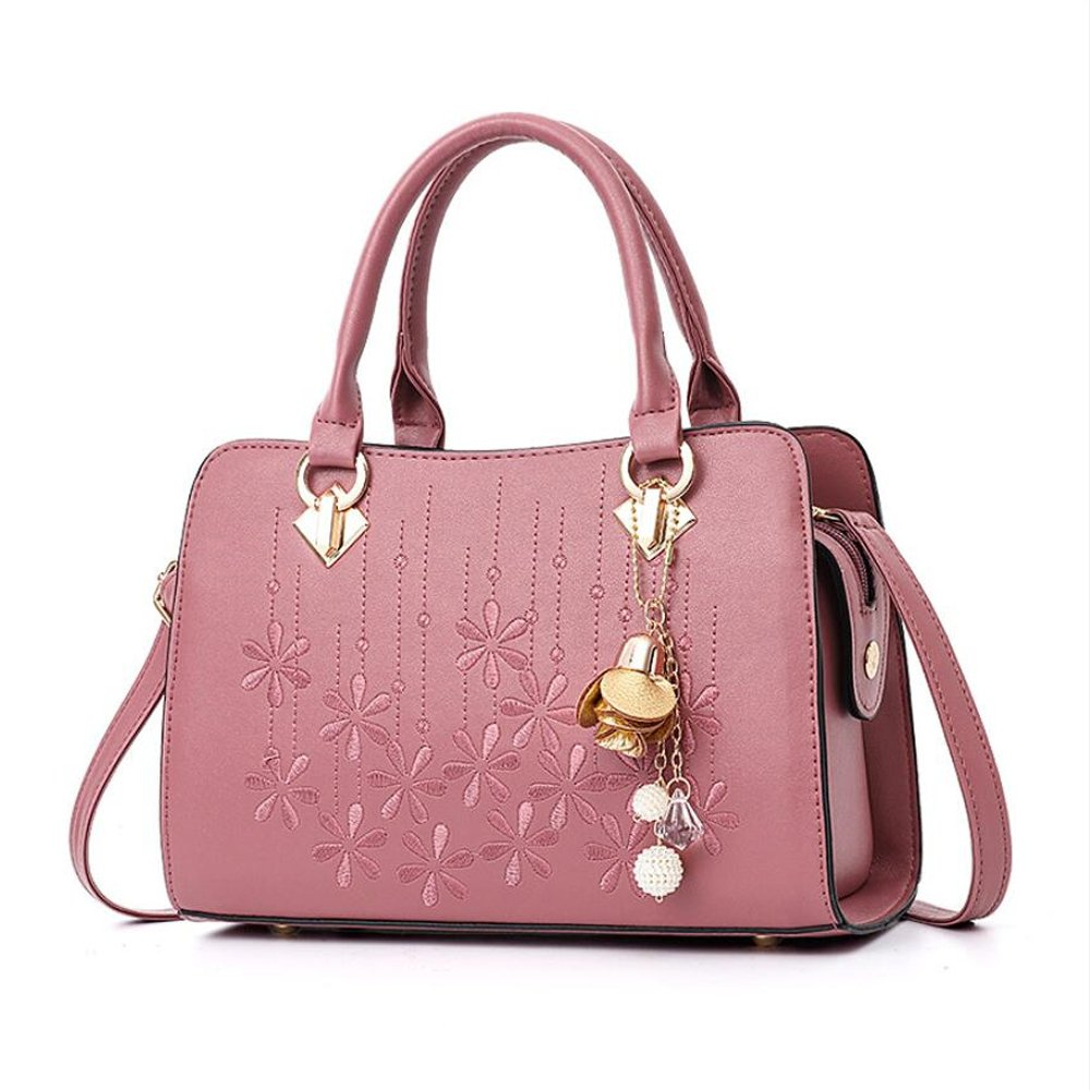 Women's Designer Shoulder Handbags Top Handle Satchel Tote PU Leather Handbags and Purses (Rubber pink) by OxsOy (Image #1)