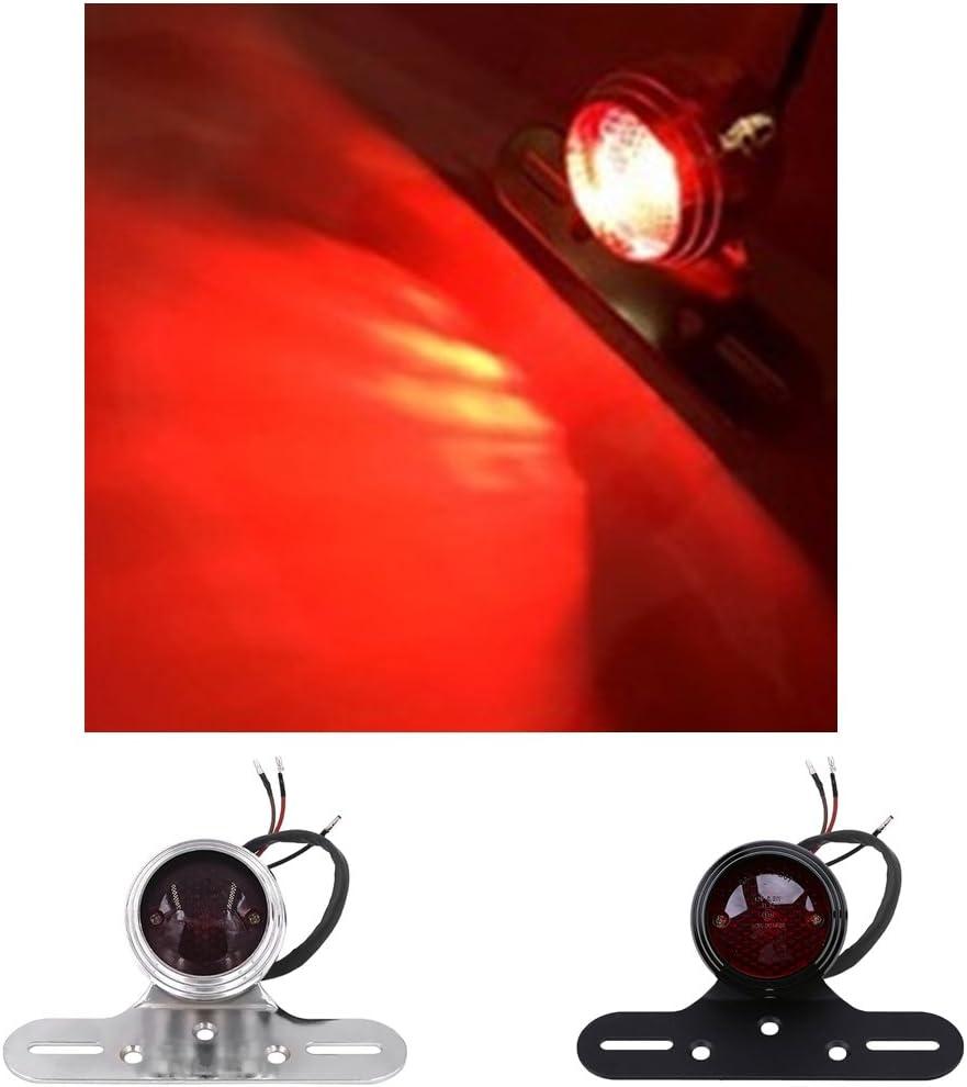 Noir MagiDeal Feu Arri/ère De Moto LED Lumi/ère Support Plaqu Montage Freinage 12V pour ATV Cafe Racer