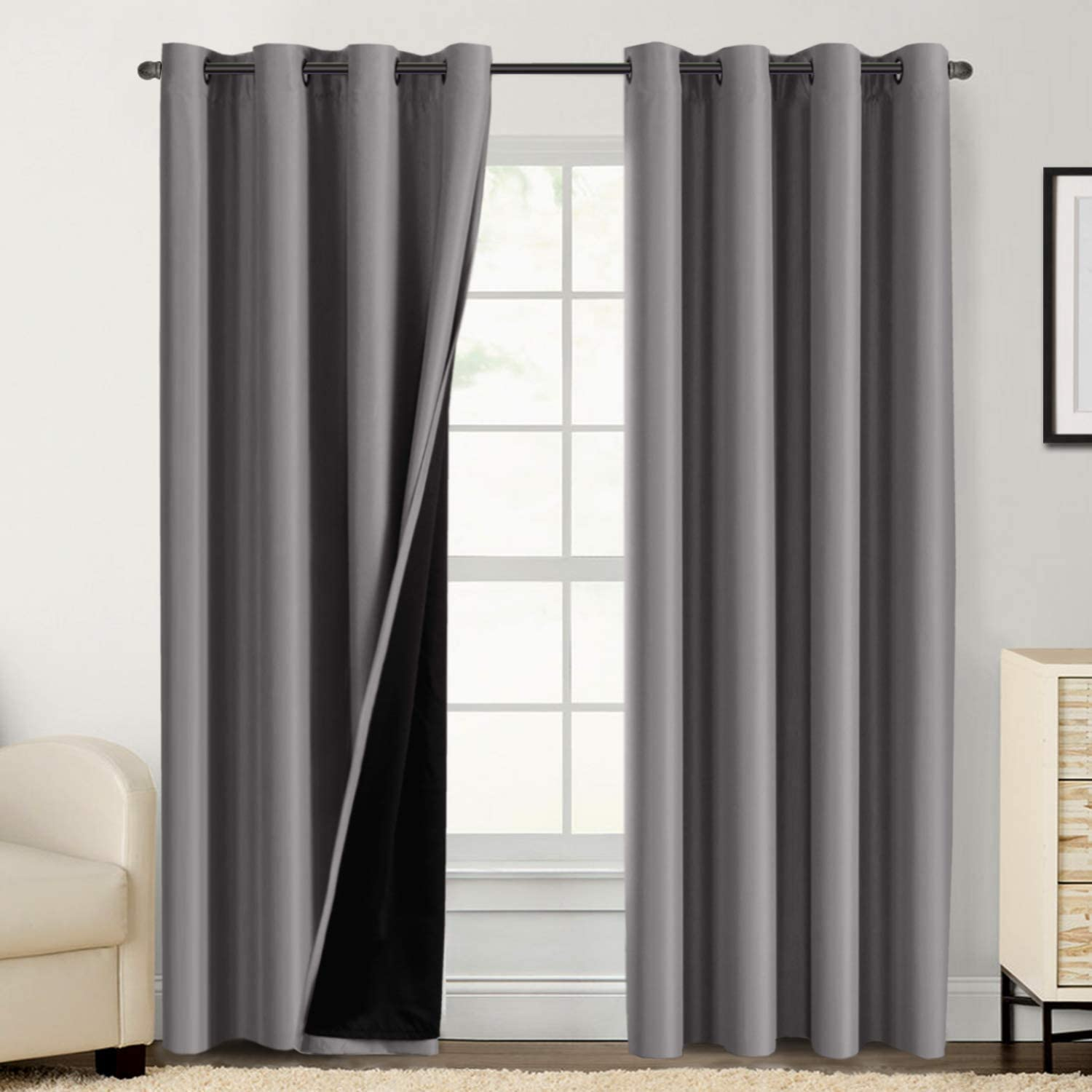 Amazon Com Double Layer 100 Blackout Curtains For Bedroom 84 Inches Long Thermal Insulated Lined Curtains For Living Room Full Light Blocking Energy Saving Grommet Drapes Draperies 2 Panels Grey Kitchen Dining