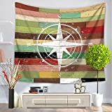 ChezMax Mediterranean Square Polyester Tapestry Multi Purpose Decorative Wall Hanging Mural Art Compass Pattern 79'' X 59''