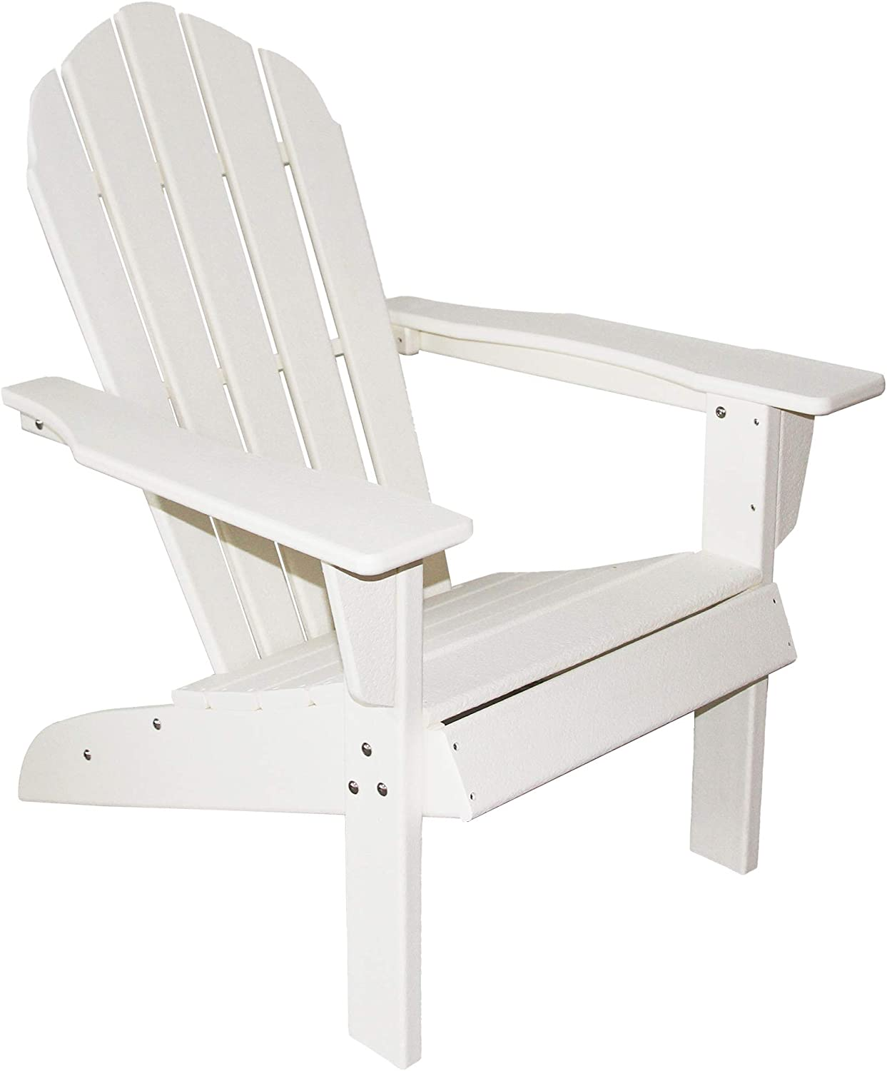 Resin TEAK HDPE Poly Lumber Adirondack Chair, White   Adult-Size, Weather Resistant for Patio Deck Garden, Backyard & Lawn Furniture   Easy Maintenance & Classic Adirondack Chair Design