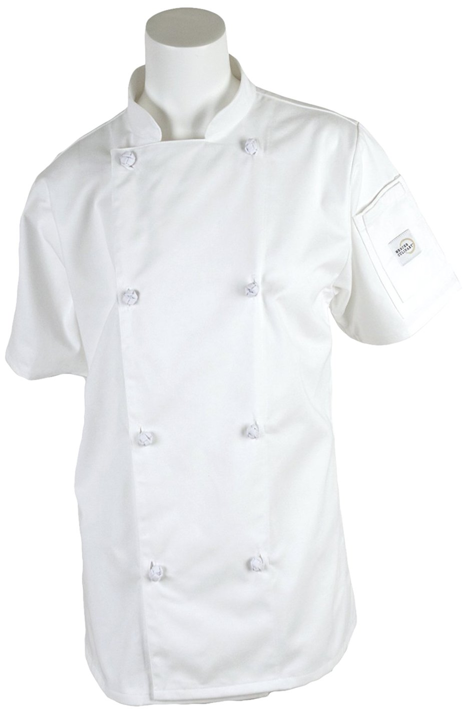 Mercer Culinary M61042BKS Genesis Women's Short Sleeve Chef Jacket with Cloth Knot Buttons, Small, Black