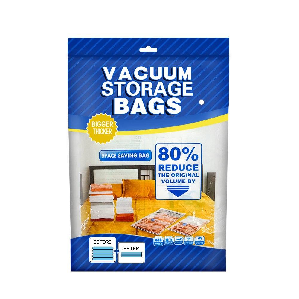 aKing Reusable Vacuum Storage Bags Space Saver Bags, Save 80% More Storage Space Free Hand Pump for Travel(5 Pack)