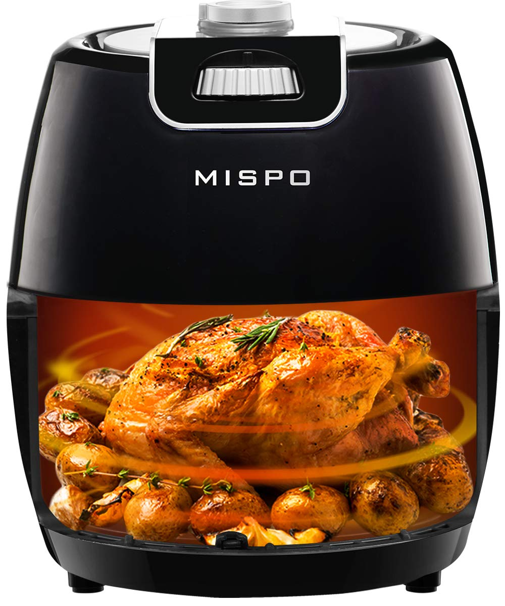 MISPO Compact Air Fryer 3.6QT, Non Stick Mini Oven with Temperature Control, Removable Washing Basket, Recipe Guide + Auto Shut off Feature - Black