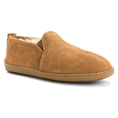 Minnetonka Men's Twin Gore Sheepskin Golden Tan ...