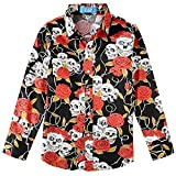 SSLR Big Boy's Skull Rose Button Down Hawaiian Casual Long Sleeve Shirt (Small(8), Black)