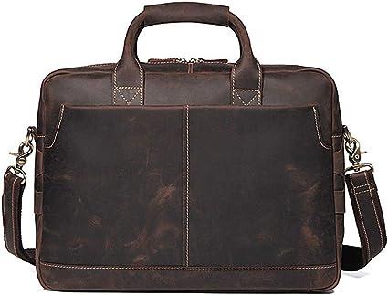 Men Business Leather Handbag Vintage Briefcase Large Capacity Durable Travel Bag