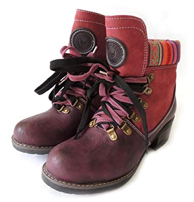 NEW FASHION WOMEN SHOES LACE UP MID CALF MILITARY COMBAT BOOTS ANNE - 01 / BURGUNDY
