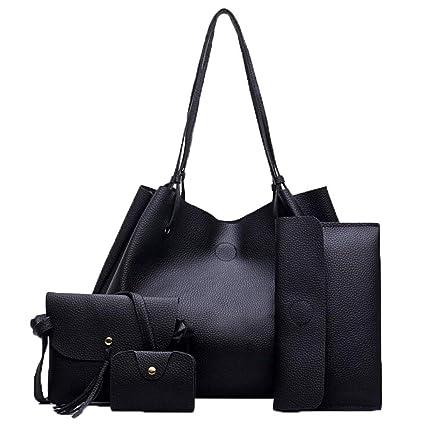 Amazon.com: Brand Womens Bag Set Bolsas Feminina Solid Soft ...