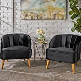 Scarlett Modern Black Velvet Club Chairs (Set of 2)