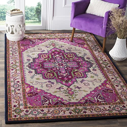 Safavieh Bellagio Collection BLG541A Ivory and Pink Bohemian Medallion Premium Wool Area Rug 9 x 12