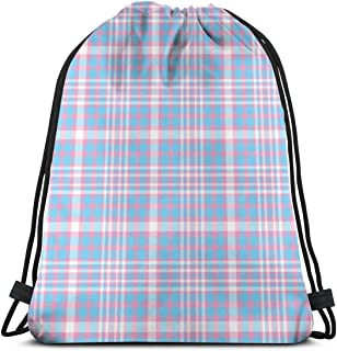 vintage cap Transgender Plaid_991 3D Print Drawstring Backpack Rucksack Shoulder Bags Gym Bag for Adult 16.9'x14'