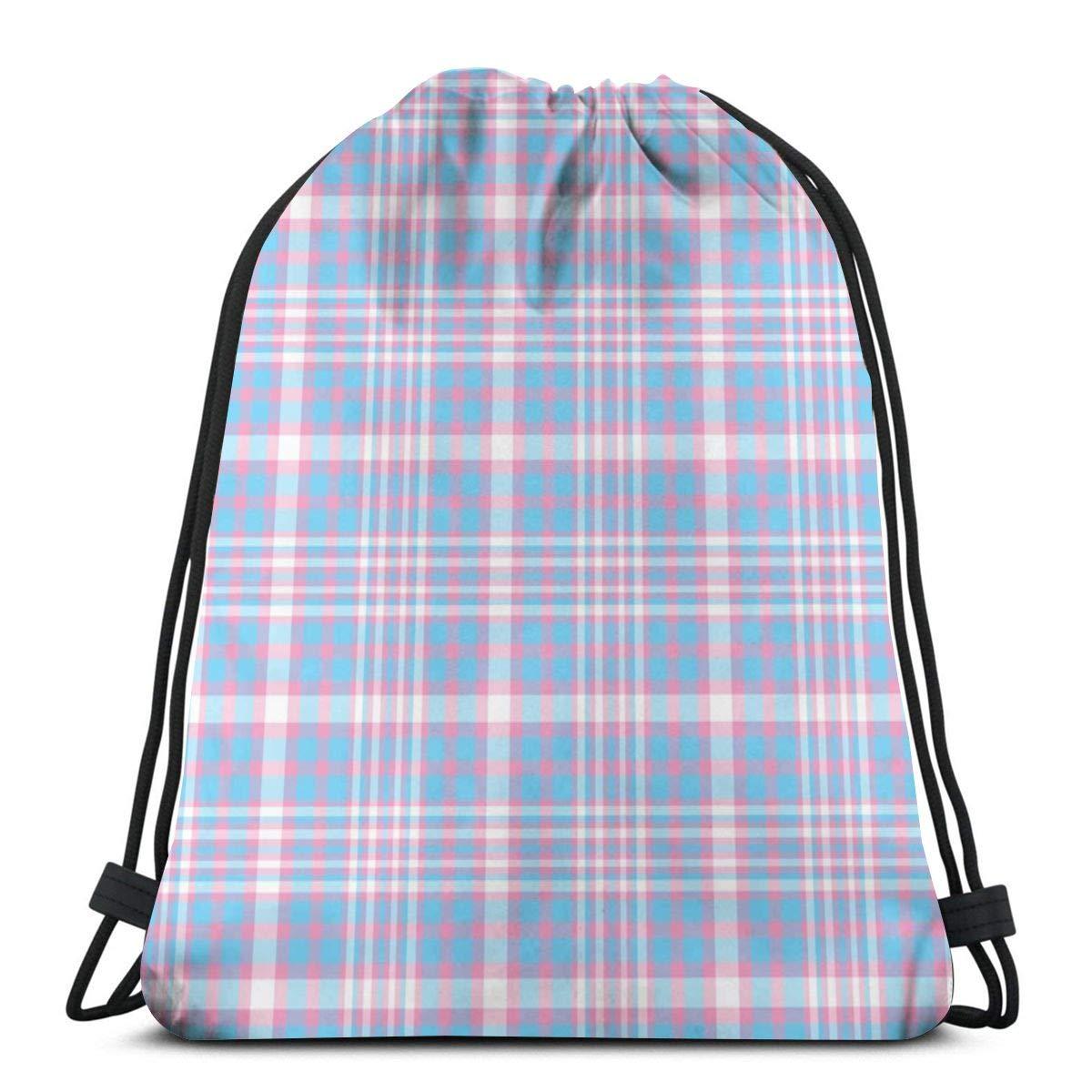 vintage cap Transgender Plaid_991 3D Print Drawstring Backpack Rucksack Shoulder Bags Gym Bag for Adult 16.9\'x14\'