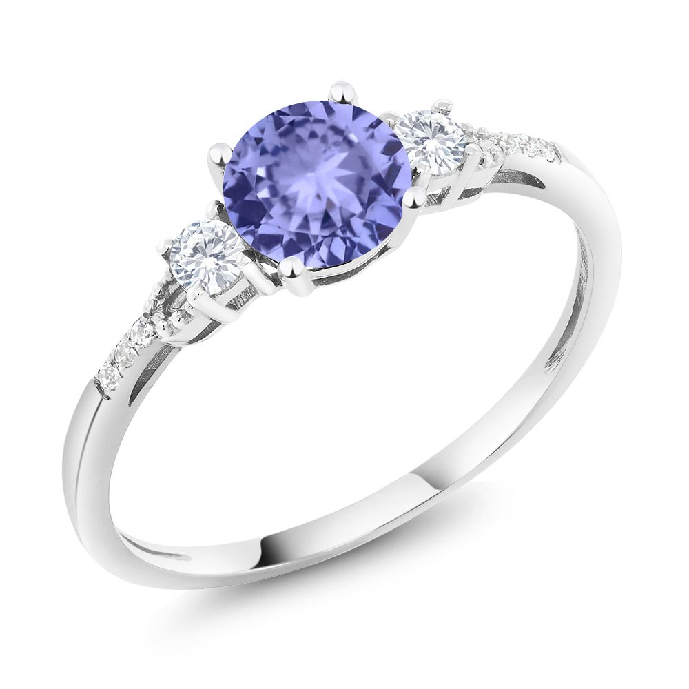 10K White Gold Diamond Accent Three-stone Engagement Ring set with Blue Tanzanite White Created Sapphire 1.05 cttw (Available in size 5, 6, 7, 8, 9)