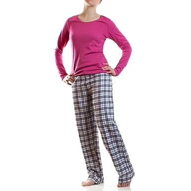 AR Line Damen Flanell Schlafanzug Pyjama Hausanzug 100% Baumwolle