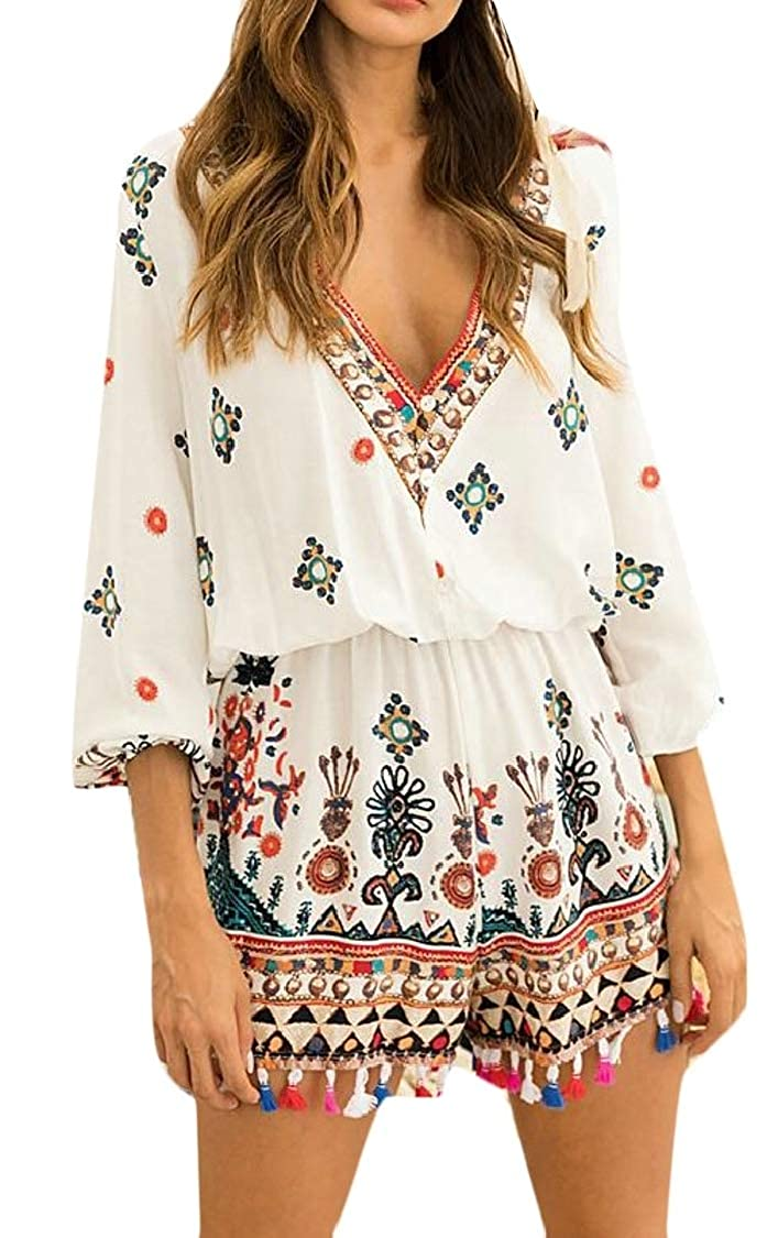 Lutratocro Women Casual Button Printed V Neck Long Sleeve Tassel Rompers