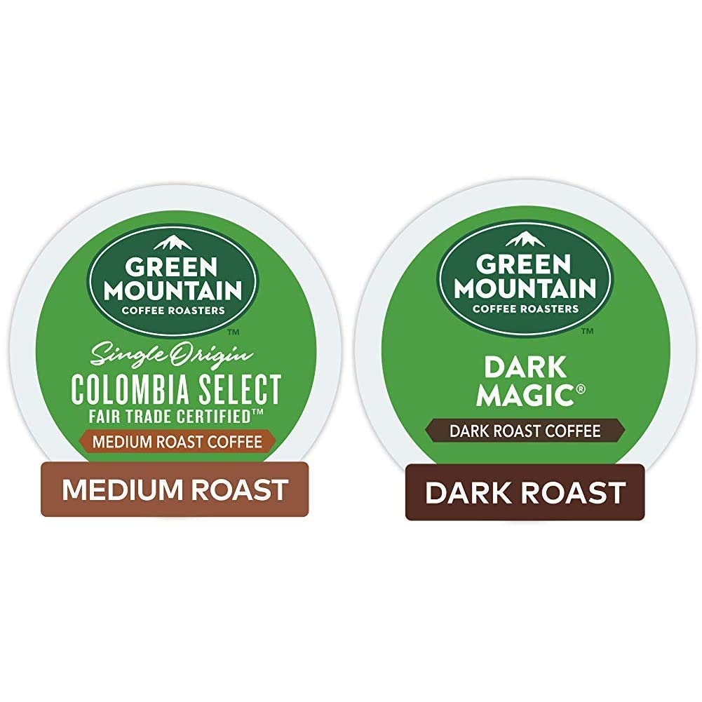 Green Mountain Coffee Roasters Colombia Select, Single-Serve Keurig K-Cup Pods, Medium Roast Coffee, 72 Count & Dark Magic, Single-Serve Keurig K-Cup Pods, Dark Roast Coffee, 72 Count