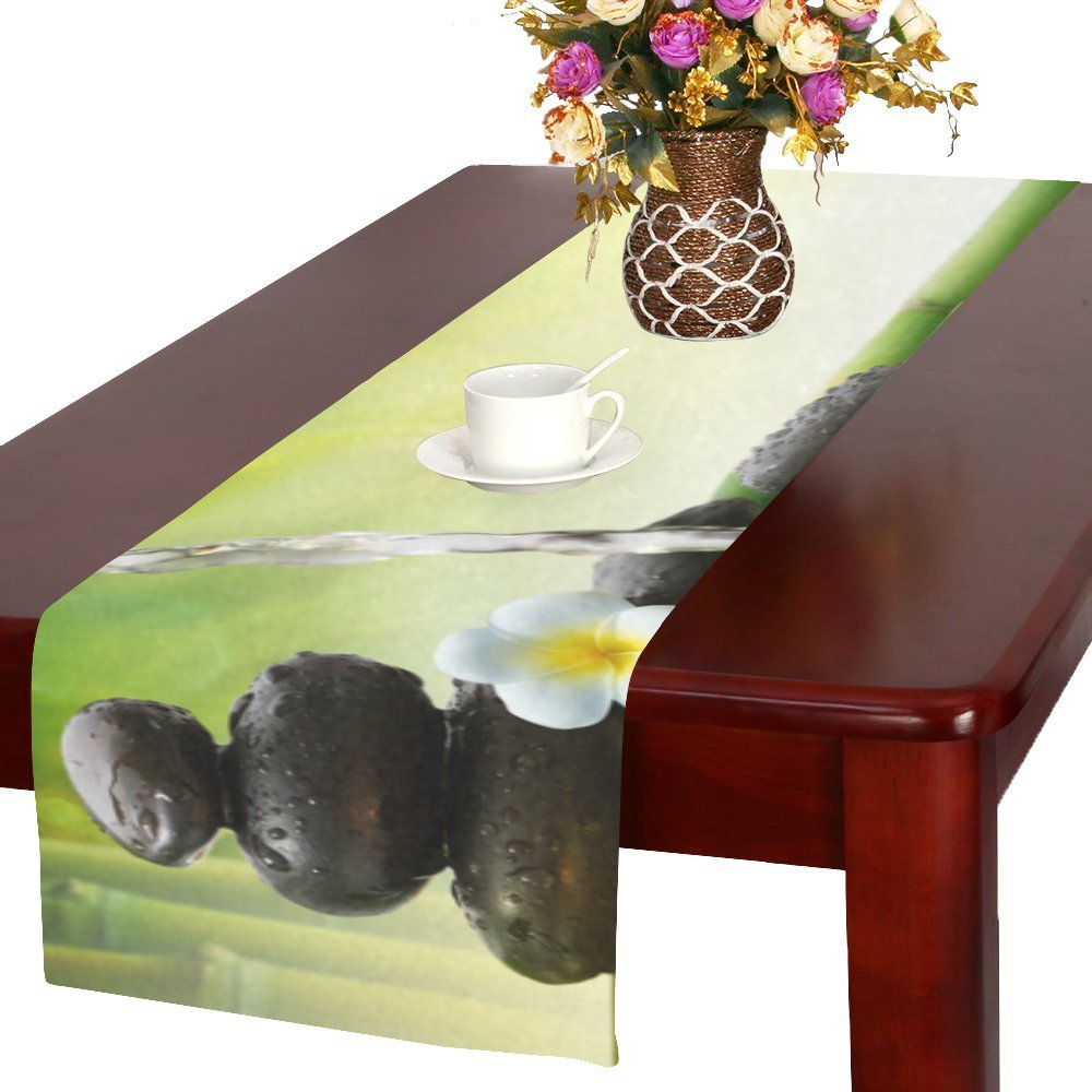 your-fantasia Japanese Bamboo Fountain Spa Stones Flow Water Cotton Linen Table Runner 16 x 72 inch