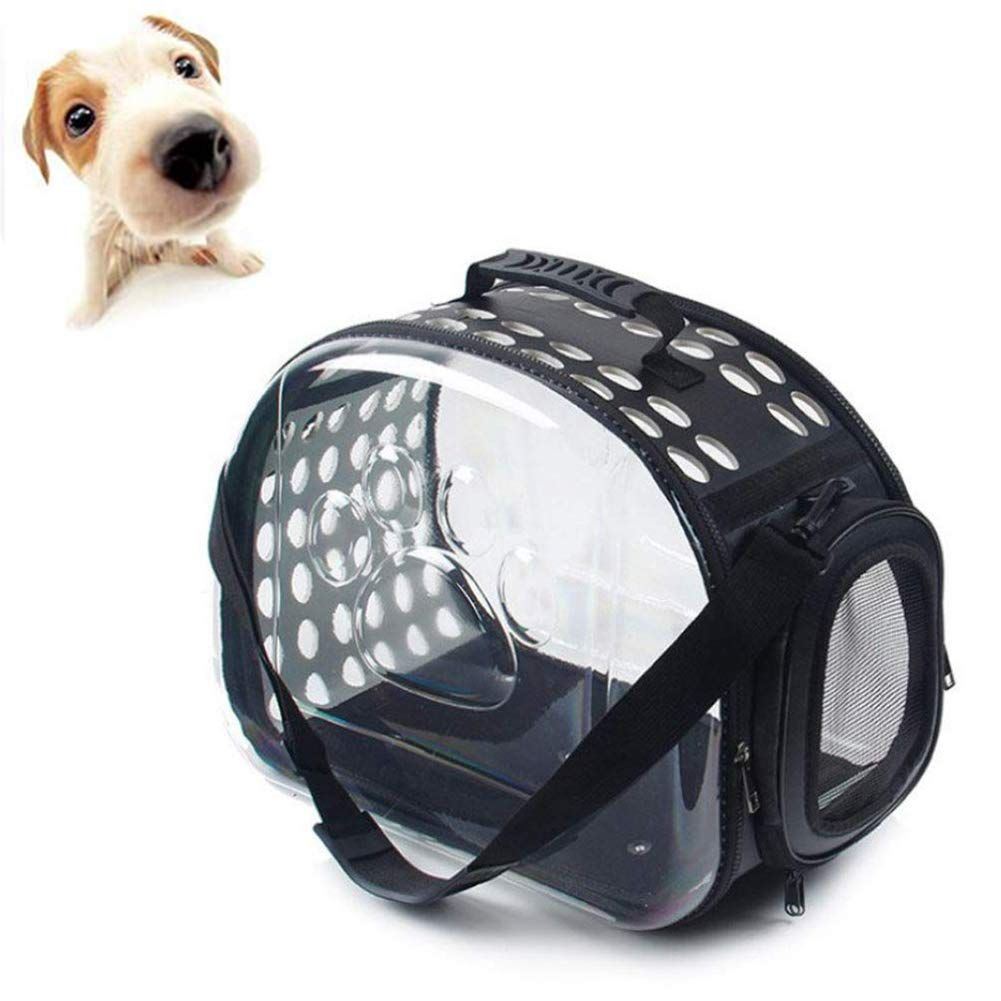 Black Transparent Pet Carrier, for Cats and Puppies, Collapsible Mesh Breathable, 42  26  35cm,Black