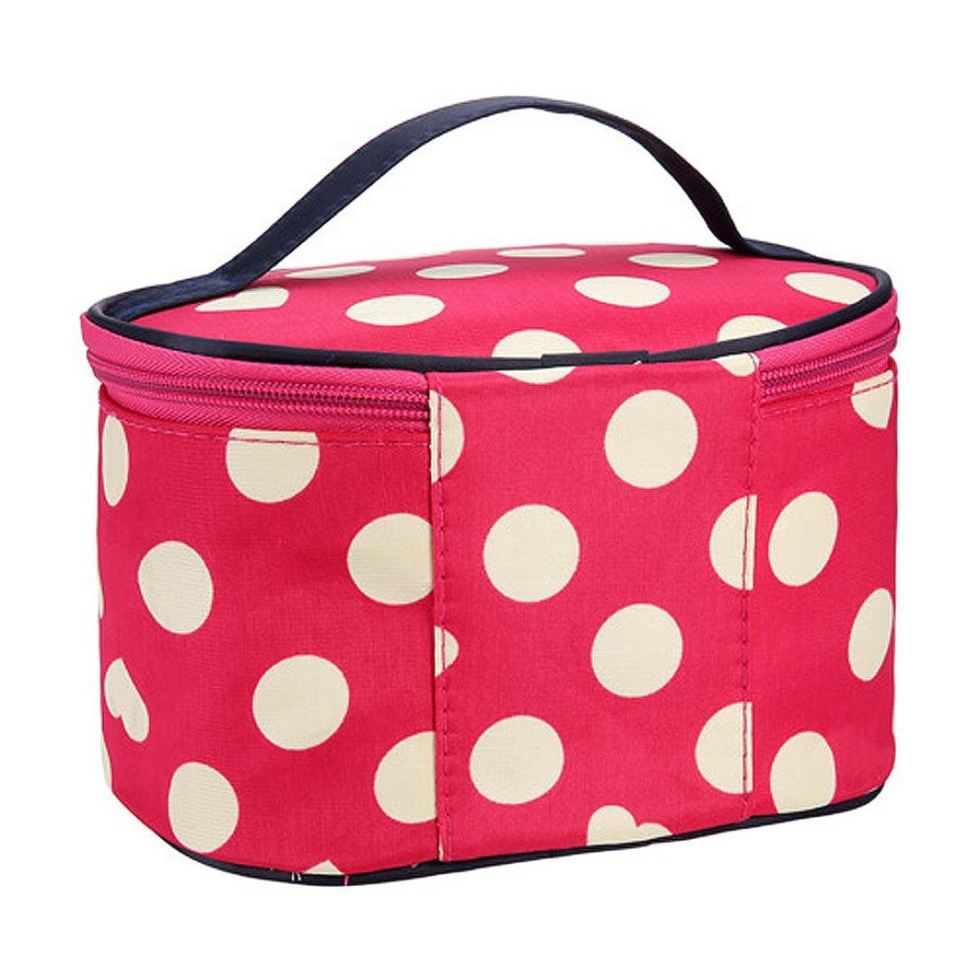 Round Dot Large Cosmetic Bag Travel Makeup Organizer Case Holder Organizer Travel Bag (Watermelon Red)