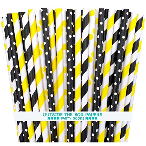 (Outside the Box Papers Bee Theme Striped and Polka Dot Paper Straws 7.75 Inches 100 Pack Black, Yellow, White)