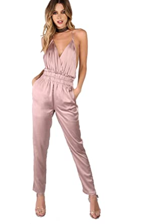 a9c1120d05 Romwe Women s Backless Long Romper Bodysuits Satin Sexy Jumpsuit Pink   Amazon.in  Clothing   Accessories