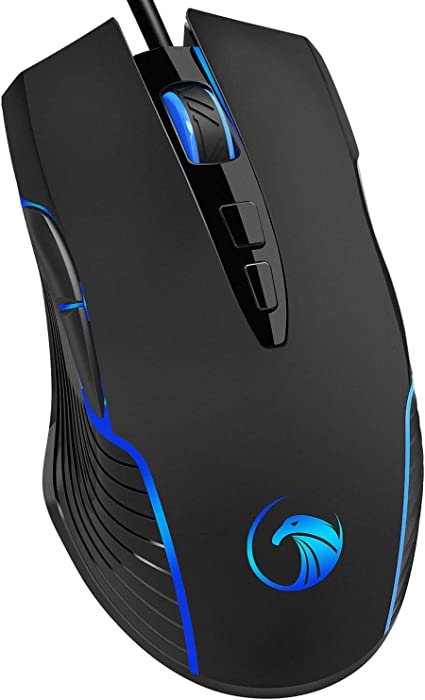 NPET M70 Wired Gaming Mouse, 7200 DPI, 7 Programmable Buttons, LED Backlit, Ergonomic Optical PC, Comfortable Computer Gaming Mice for Windows 7/8/10/XP Vista Linux, Black (M70 Wired Gaming Mouse)