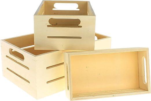 MACOSA NO53118 - Cajas de madera decorativas (3 unidades, madera ...