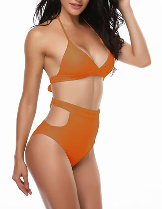 TXX Conjunto de bikini sin espalda con vendaje y traje de ...