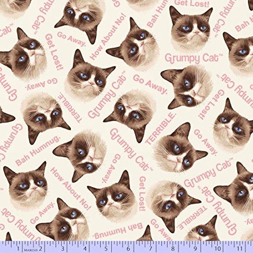Cat Fabric - Grumpy Cat - Cat Toss - Cream - 100% Cotton - By the Yard