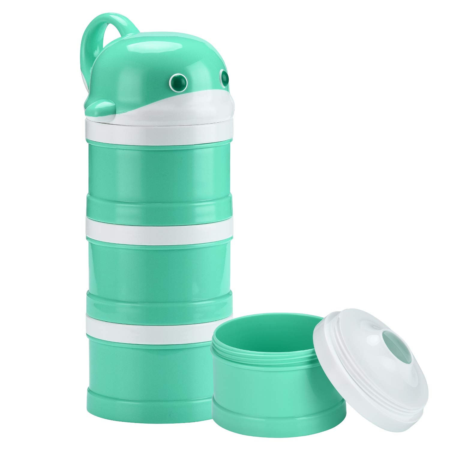 Burabi Baby Formula Snack Dispenser Stackable Portion Container for Travel 3 Compartments Non-Spill (Cyan) by Burabi