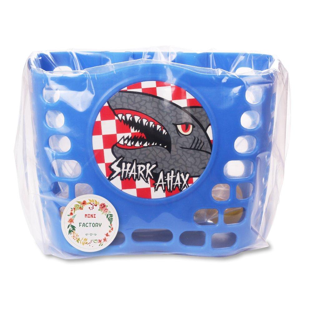 Kid's Bike Basket, Mini-Factory Cute Cartoon Shark Attax Pattern Bicycle Handlebar Basket for Boy  (Blue) by Mini-Factory (Image #6)