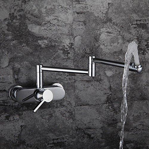 ANNTYE Waschtischarmatur Bad Mischbatterie Badarmatur Waschbecken Messing Wand- Warmes und kaltes Wasser Schwenken der Einhebelsteuerung Badezimmer Waschtischmischer