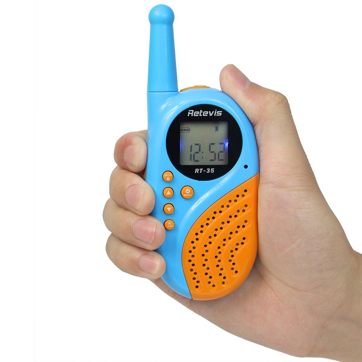Retevis RT35 Kids Walkie Talkies USB License-Free Digital Alarm Clock 2 Way Radio(Blue, 4 Pack) by Retevis (Image #8)