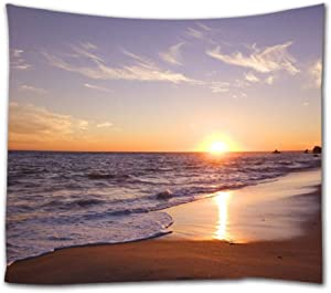 "Goodbath Beach Tapestry, Coast of Beach at Sunrise Time Fabric Wall Hangings, 60"" x 51"", Orange Blue Brown"