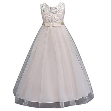 Ai.Moichien Mädchen Prinzessin Kleid Flower Lace Kleid, bodenlange ...