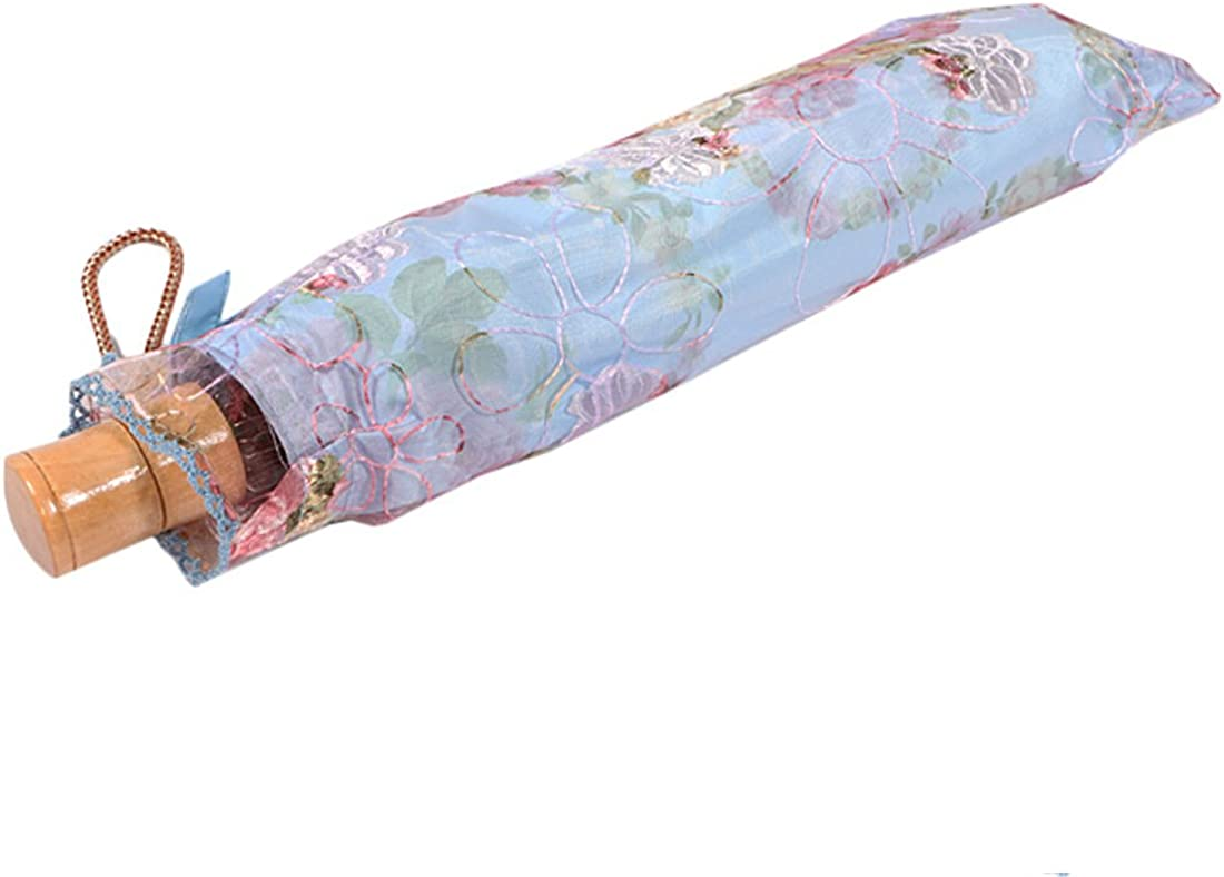 UPF 40+ kilofly Anti-UV Embroidered Sun Protection Folding Parasol Umbrella