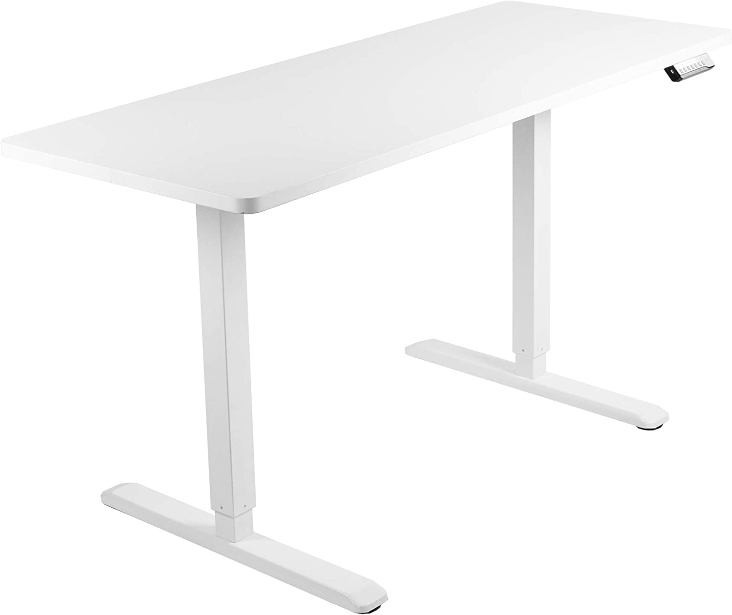 VIVO Electric 60 x 24 inch Stand Up Desk, White Solid One-Piece Table Top, White Frame, Height Adjustable Standing Workstation with Memory Preset Controller (DESK-KIT-1W6W)