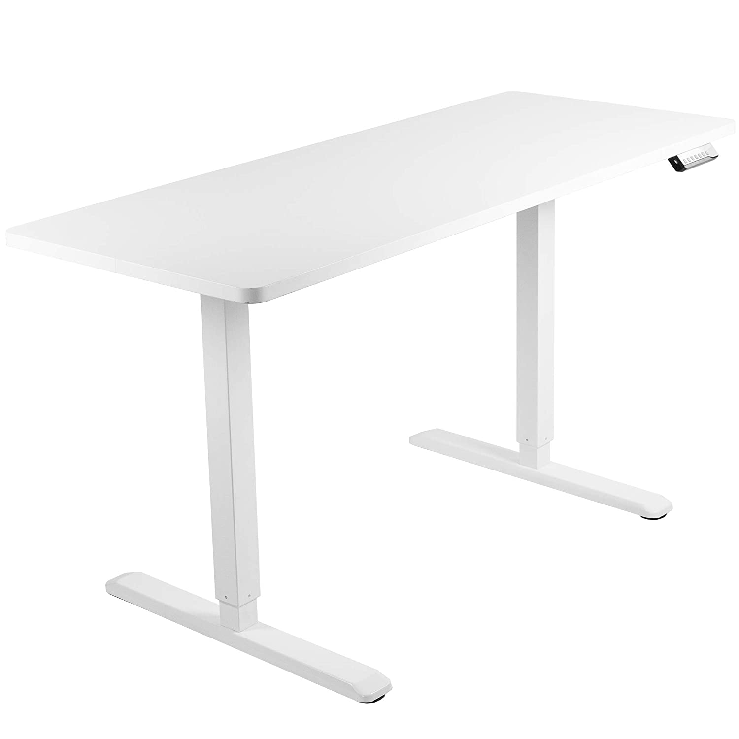 VIVO Electric 60 x 24 inch Stand Up Desk White Table Top, White Frame, Height Adjustable Standing Workstation with Memory Preset Controller DESK-KIT-1W6W