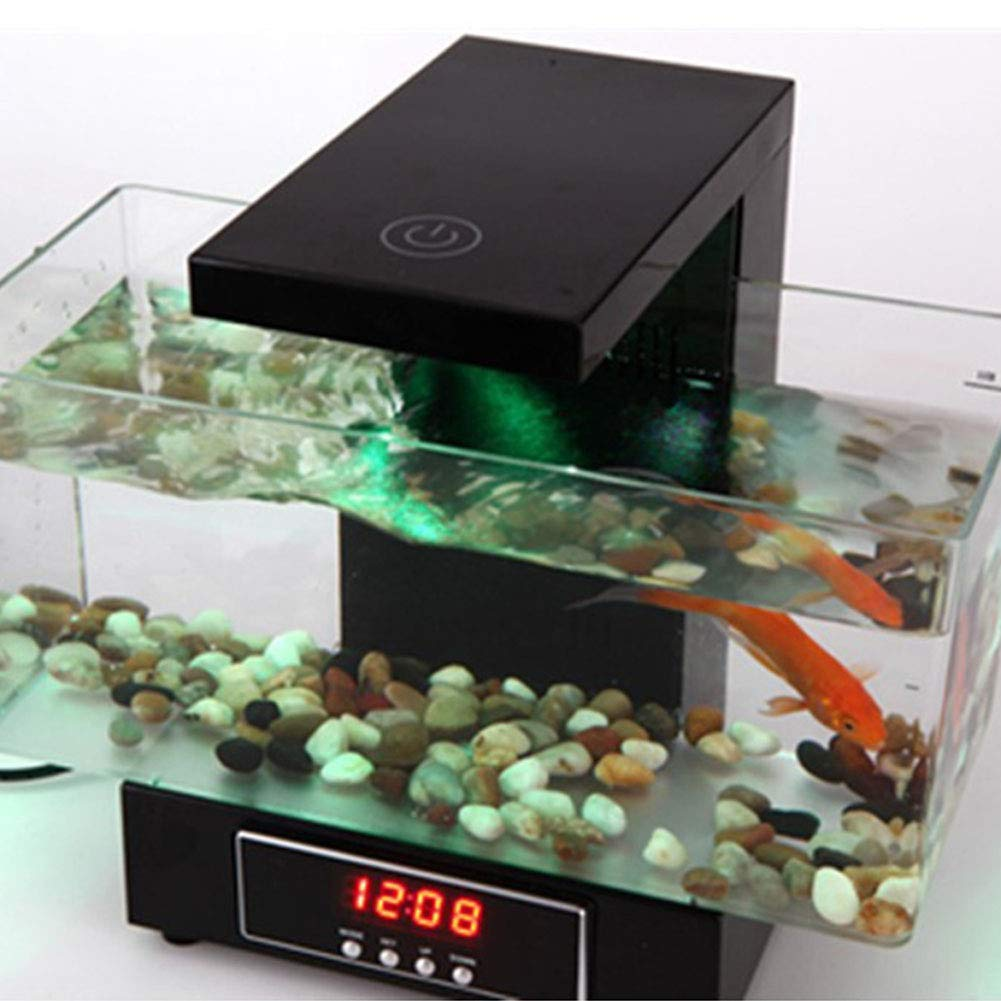 Mini Tanque de Peces Carga por USB, Luz LED Sonido Reciclado de Agua, Acuario Ecológico Fishbowl con Calendario: Amazon.es: Hogar